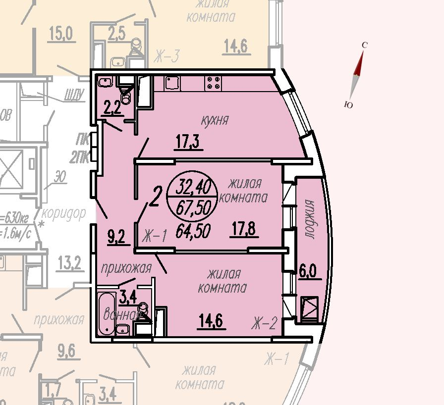 ул. Дирижабельная, д. 1, секция1, квартира 67,50 м2
