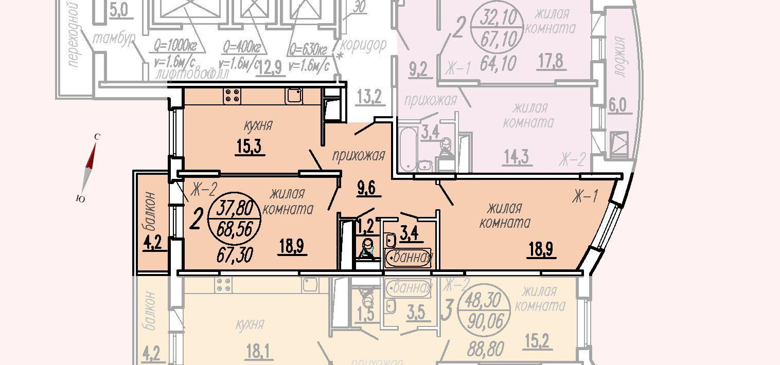 ул. Дирижабельная, д. 1, секция1, квартира 68,56 м2