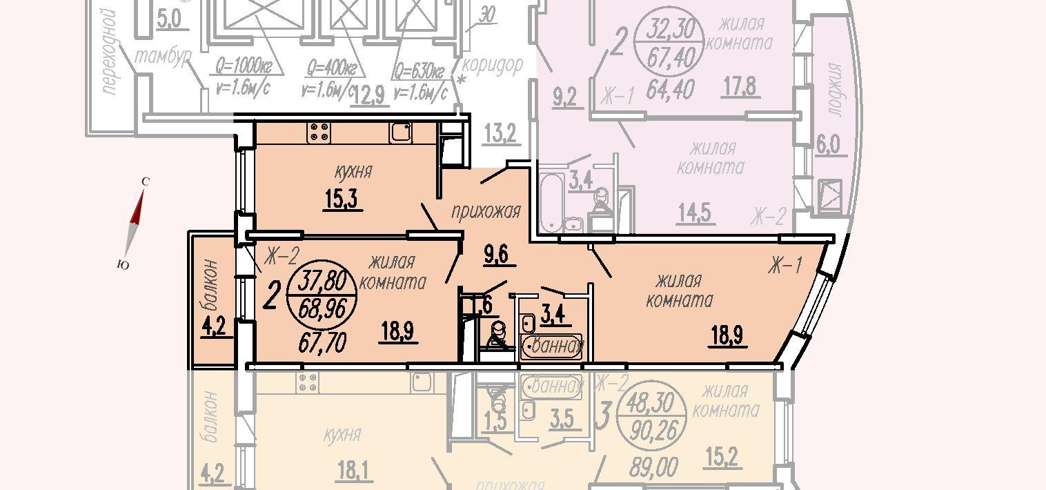 ул. Дирижабельная, д. 1, секция1, квартира 68,96 м2