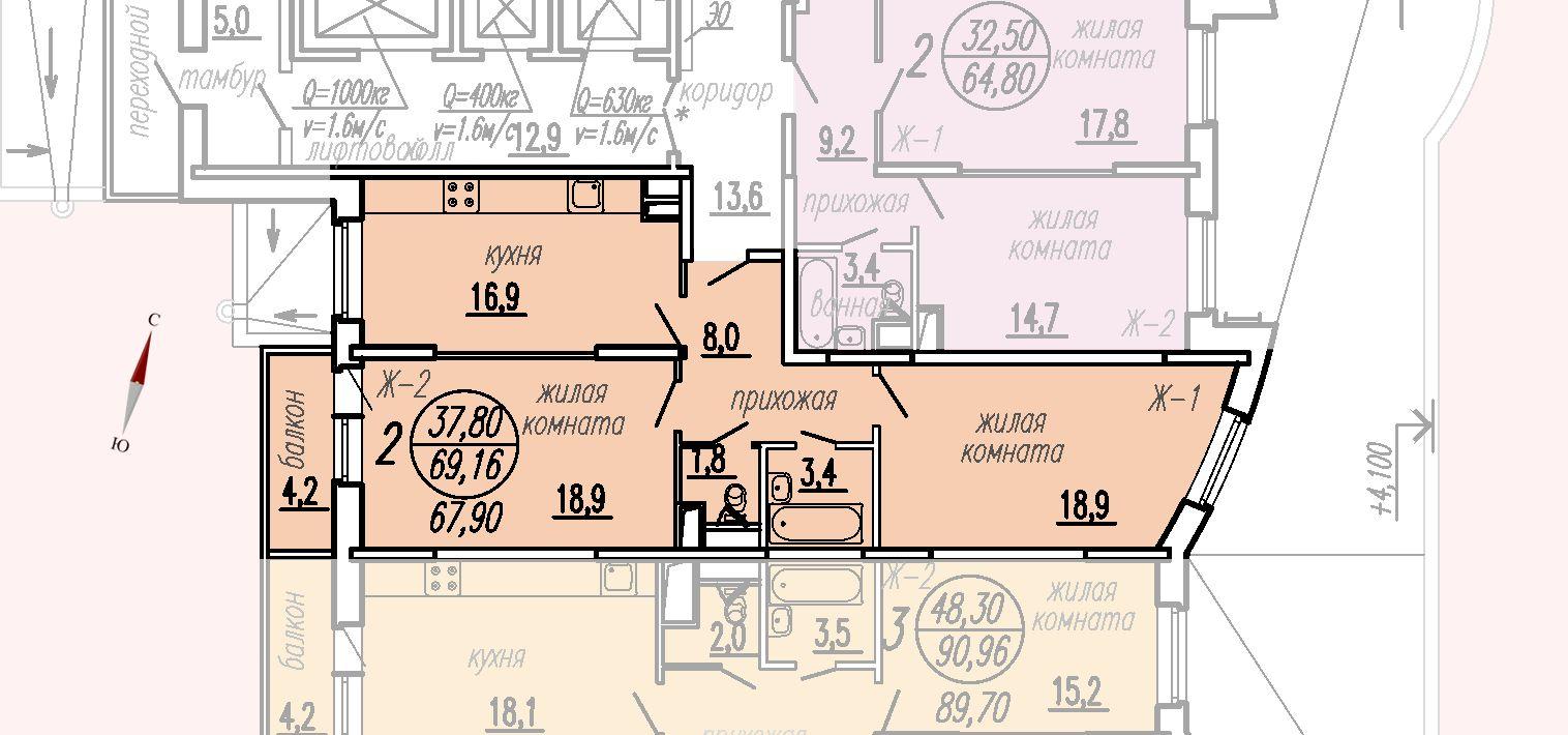 ул. Дирижабельная, д. 1, секция1, квартира 69,16 м2