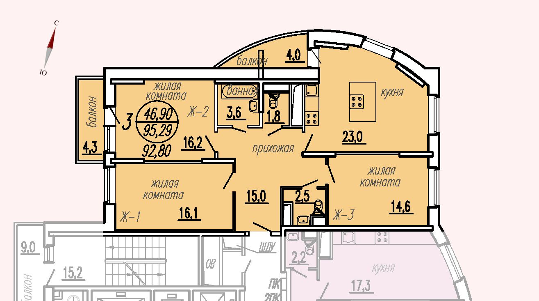 ул. Дирижабельная, д. 1, секция1, квартира 95,29 м2