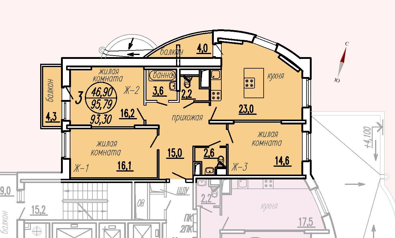ул. Дирижабельная, д. 1, секция1, квартира 95,79 м2