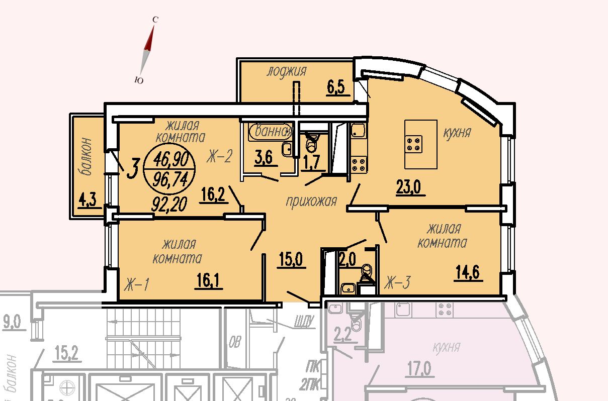 ул. Дирижабельная, д. 1, секция1, квартира 96,74 м2