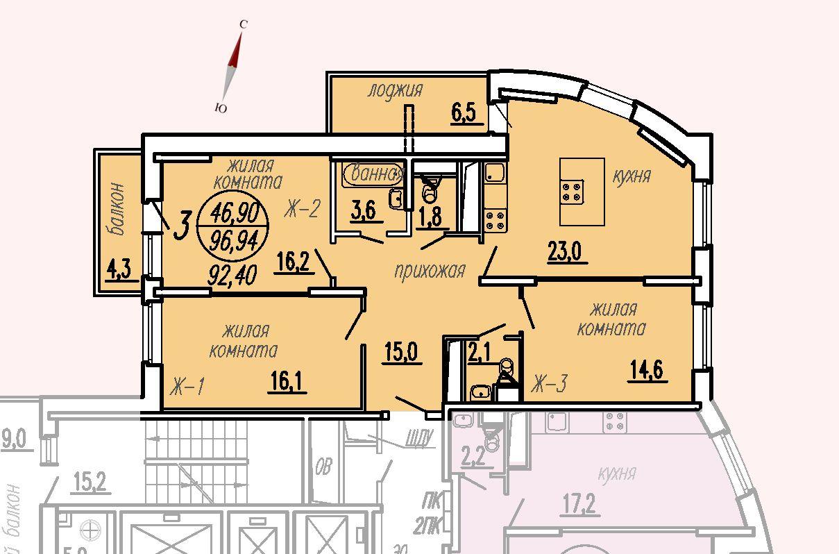 ул. Дирижабельная, д. 1, секция1, квартира 96,94 м2