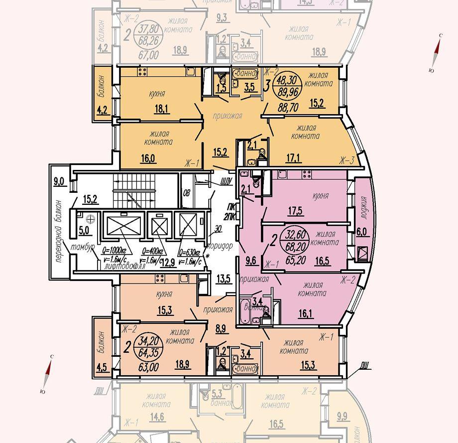 ул. Дирижабельная, д. 1, секция2, этаж/этажи 14-17