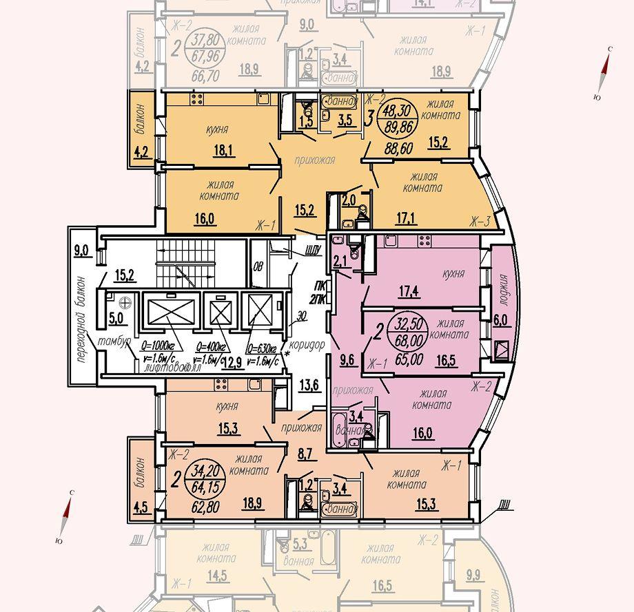 ул. Дирижабельная, д. 1, секция2, этаж/этажи 18-21