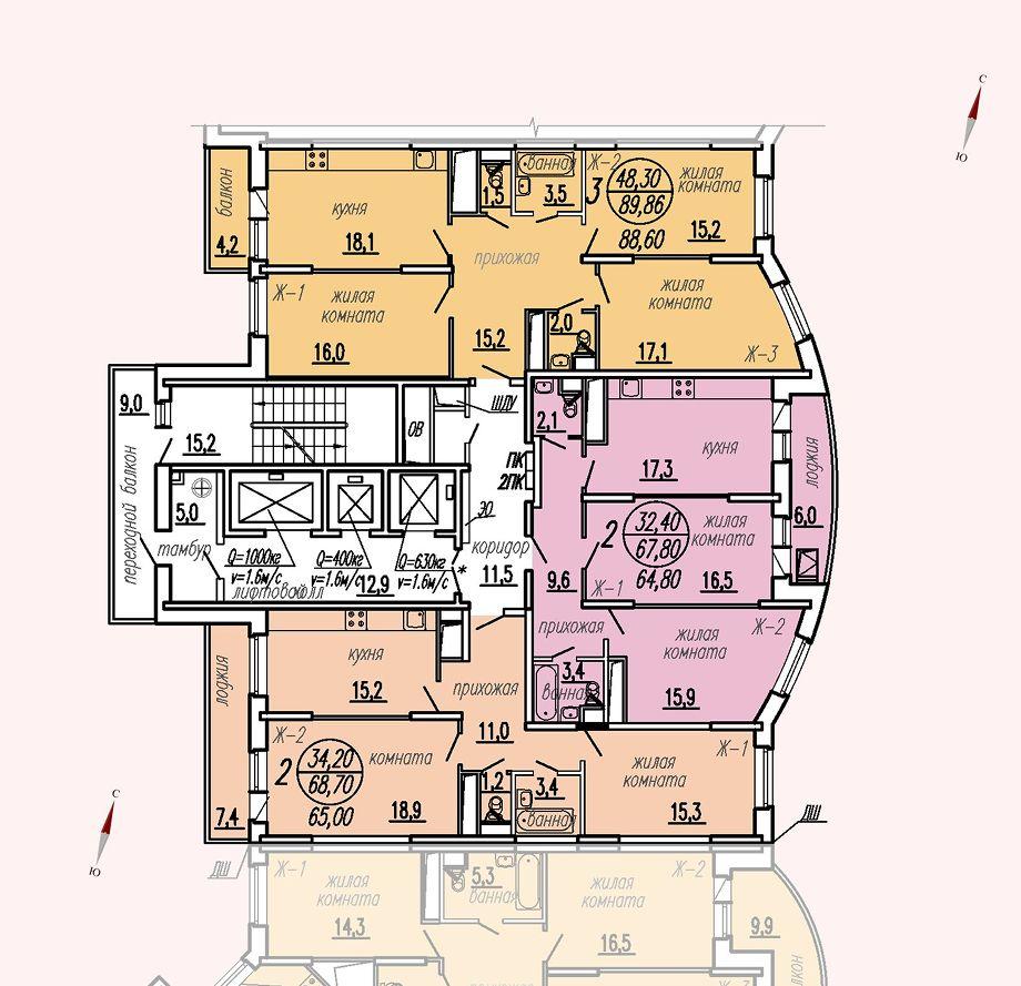 ул. Дирижабельная, д. 1, секция2, этаж/этажи 22