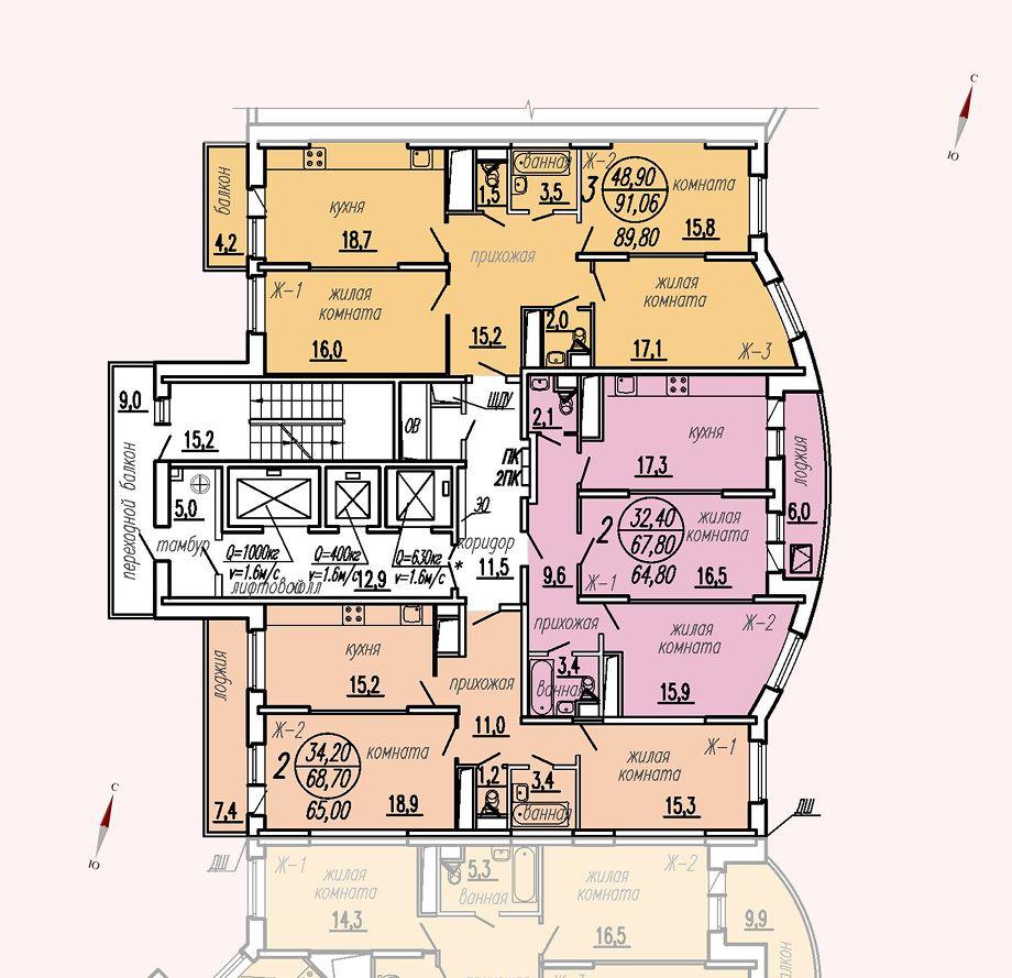 ул. Дирижабельная, д. 1, секция2, этаж/этажи 23