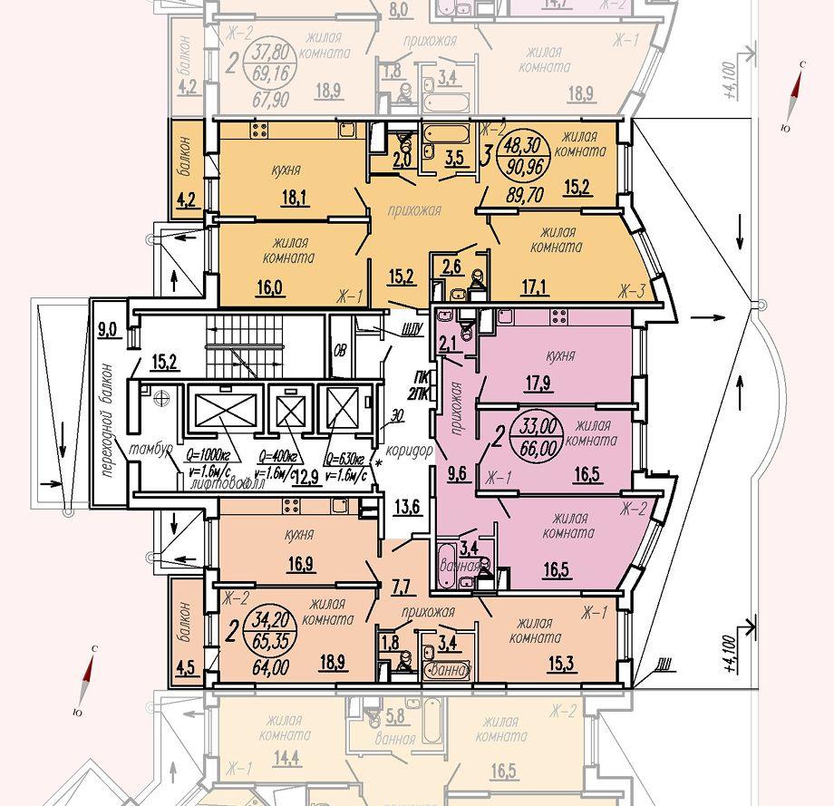 ул. Дирижабельная, д. 1, секция2, этаж/этажи 2