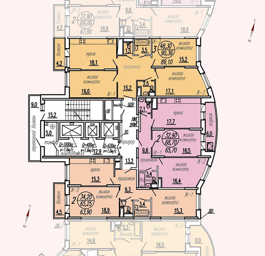 ул. Дирижабельная, д. 1, секция2, этаж/этажи 3-5