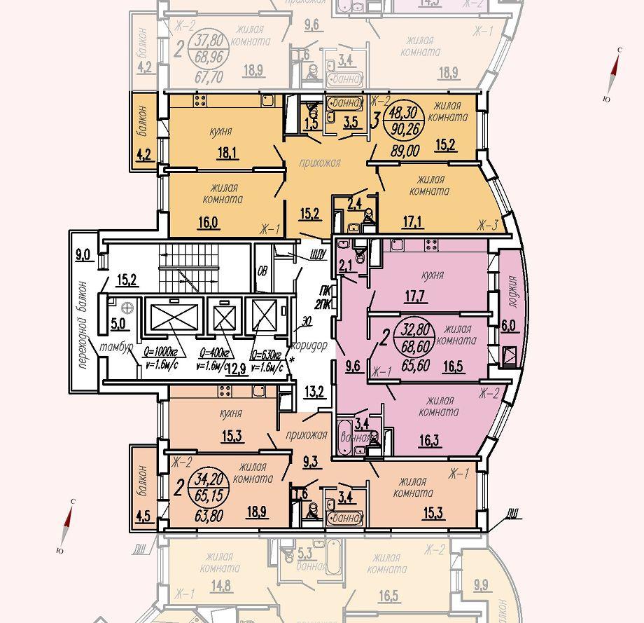 ул. Дирижабельная, д. 1, секция2, этаж/этажи 6-9