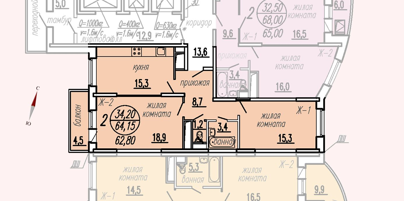 ул. Дирижабельная, д. 1, секция2, квартира 64,15 м2