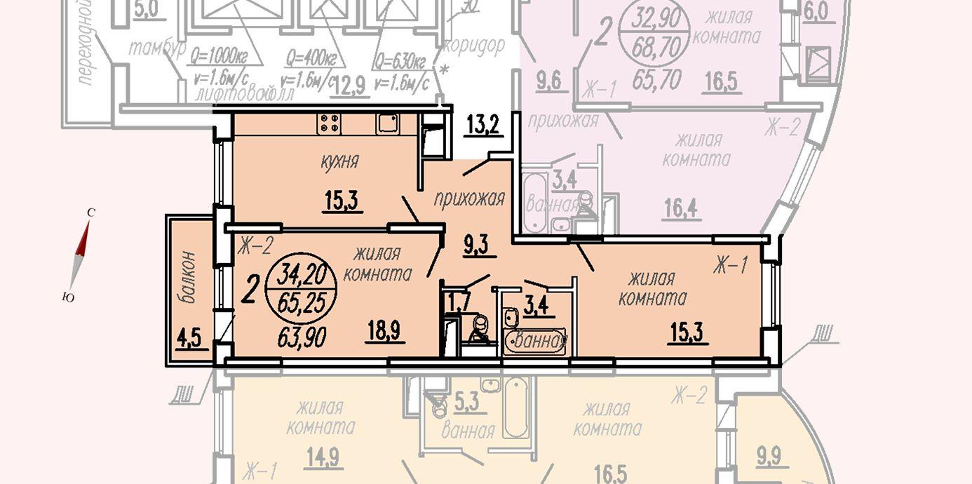 ул. Дирижабельная, д. 1, секция2, квартира 65,25 м2