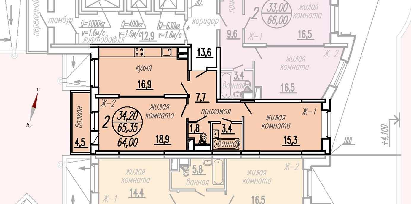 ул. Дирижабельная, д. 1, секция2, квартира 65,35 м2