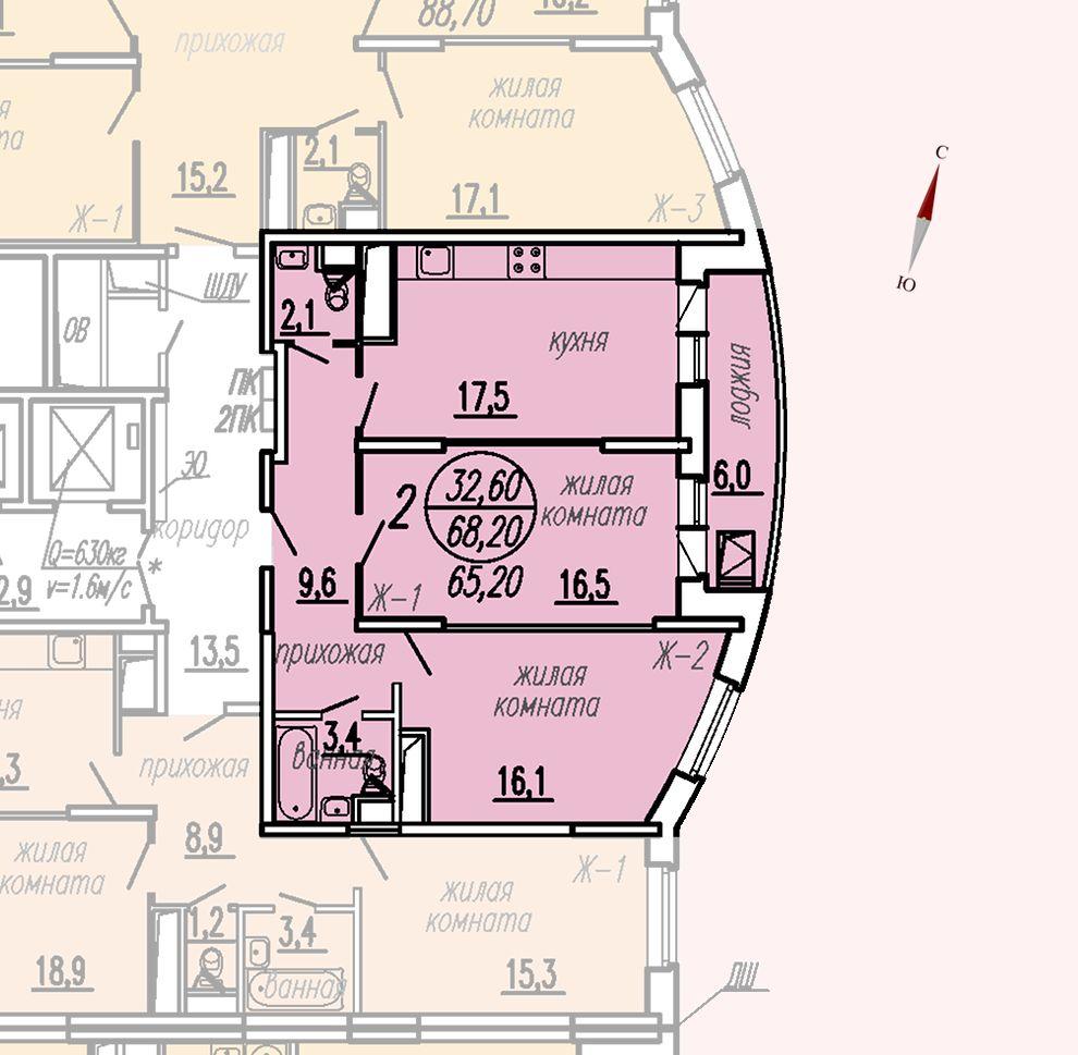 ул. Дирижабельная, д. 1, секция2, квартира 68,20 м2