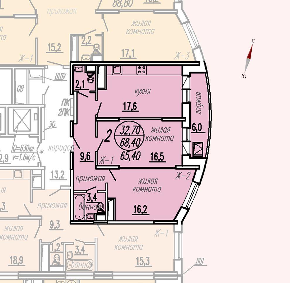 ул. Дирижабельная, д. 1, секция2, квартира 68,40 м2
