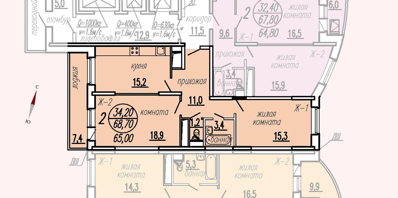 ул. Дирижабельная, д. 1, секция2, квартира 68,70 м2