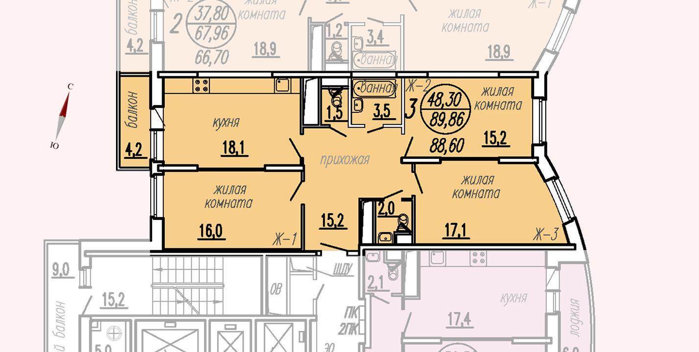 ул. Дирижабельная, д. 1, секция2, квартира 89,86 м2