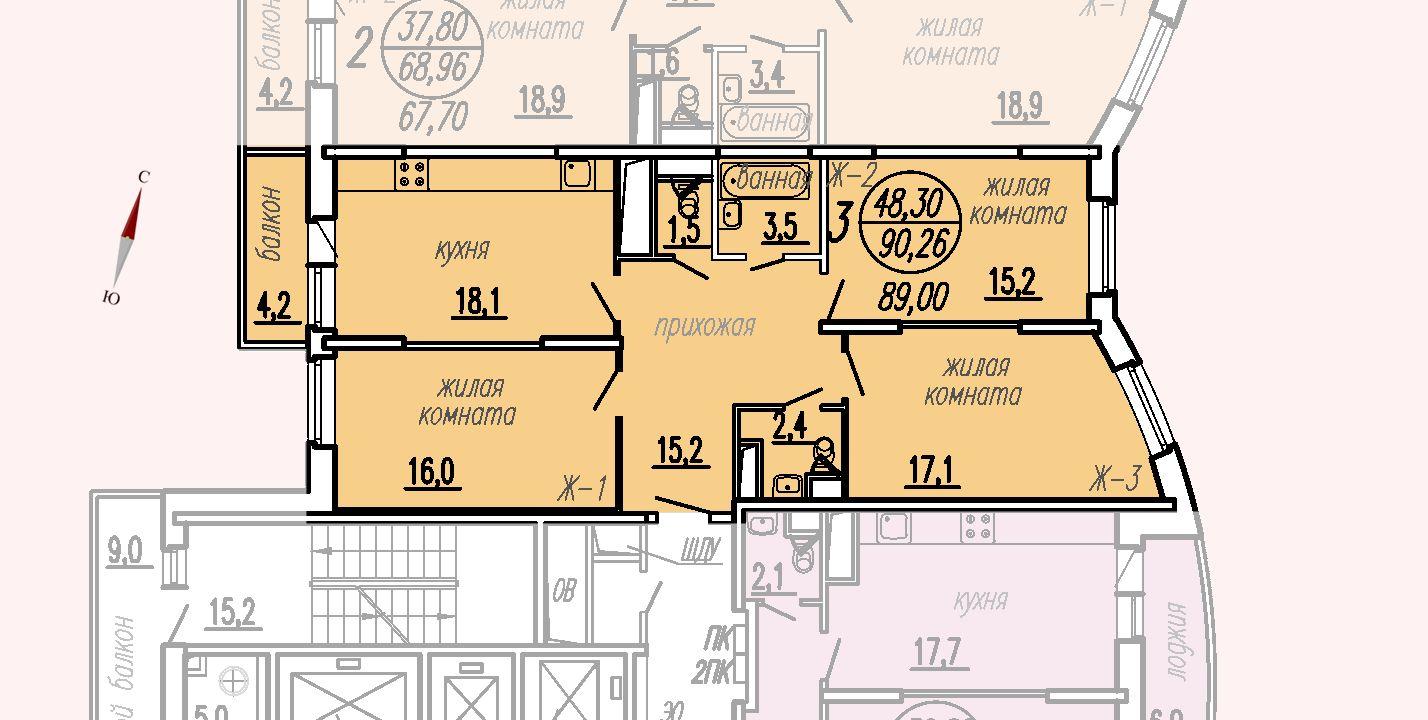ул. Дирижабельная, д. 1, секция2, квартира 90,26 м2