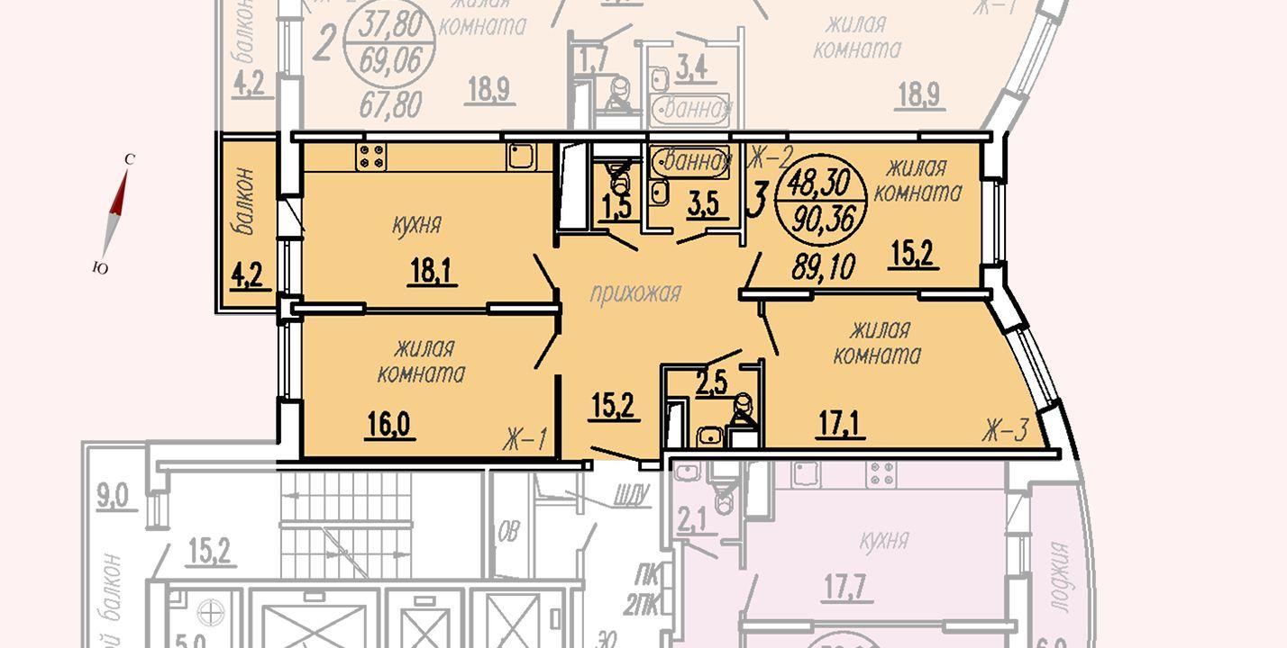 ул. Дирижабельная, д. 1, секция2, квартира 90,36 м2