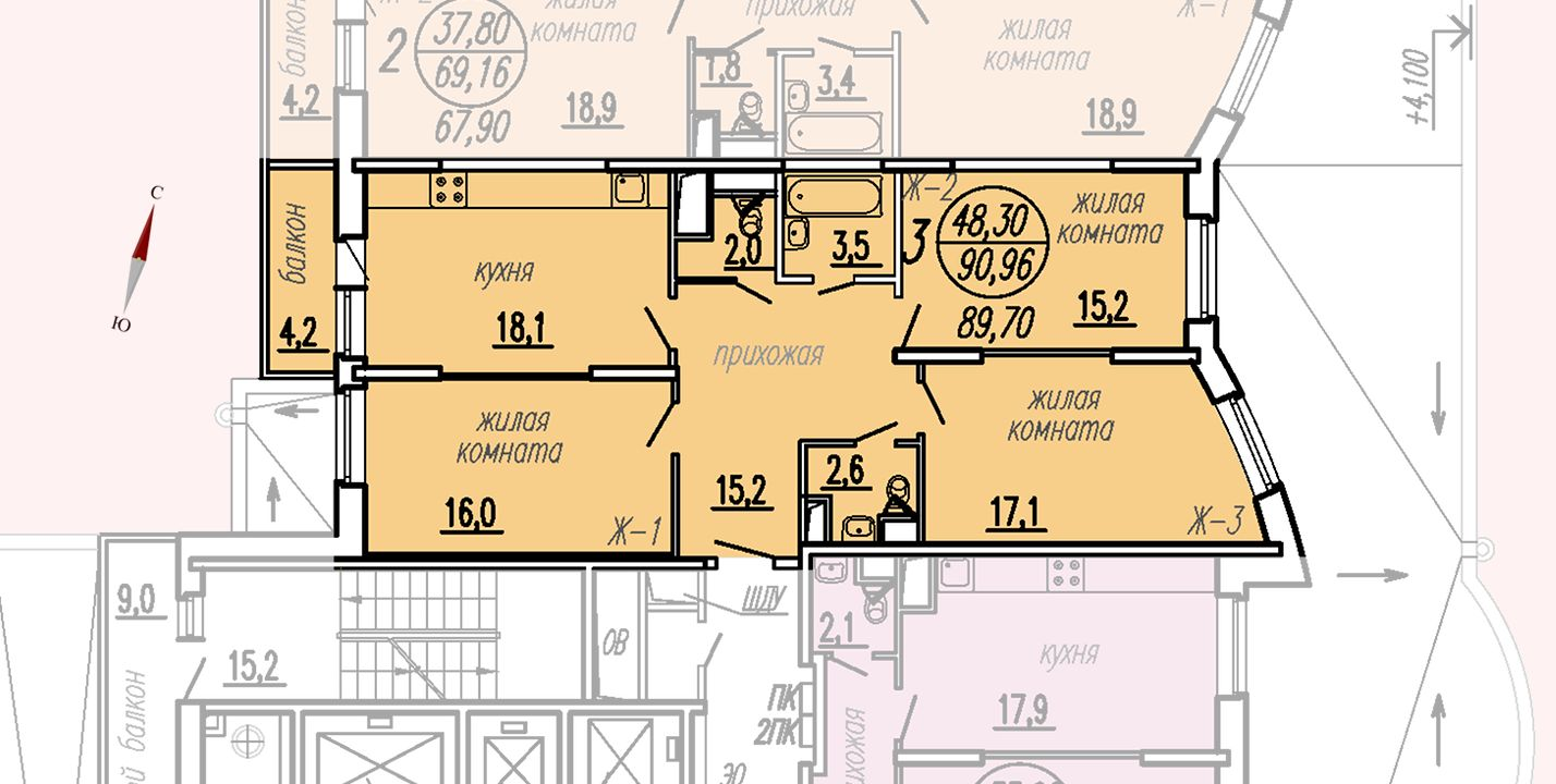 ул. Дирижабельная, д. 1, секция2, квартира 90,96 м2