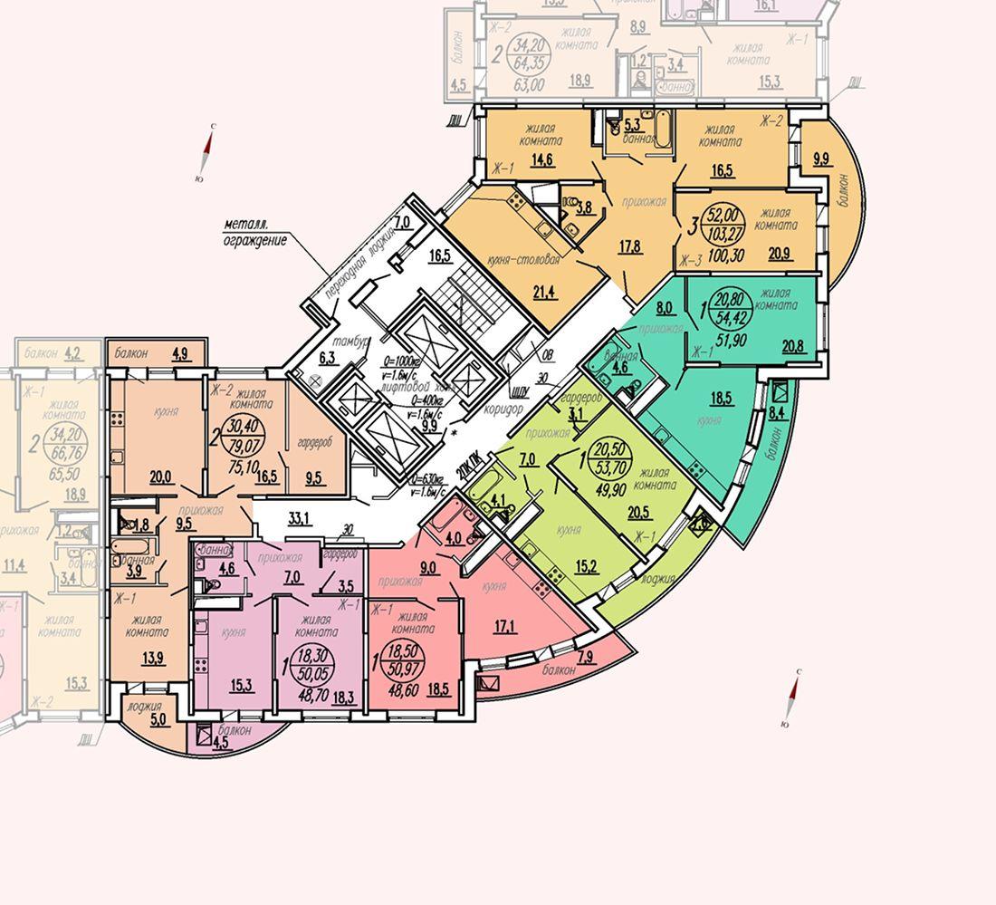 ул. Дирижабельная, д. 1, секция3, этаж/этажи 14-17