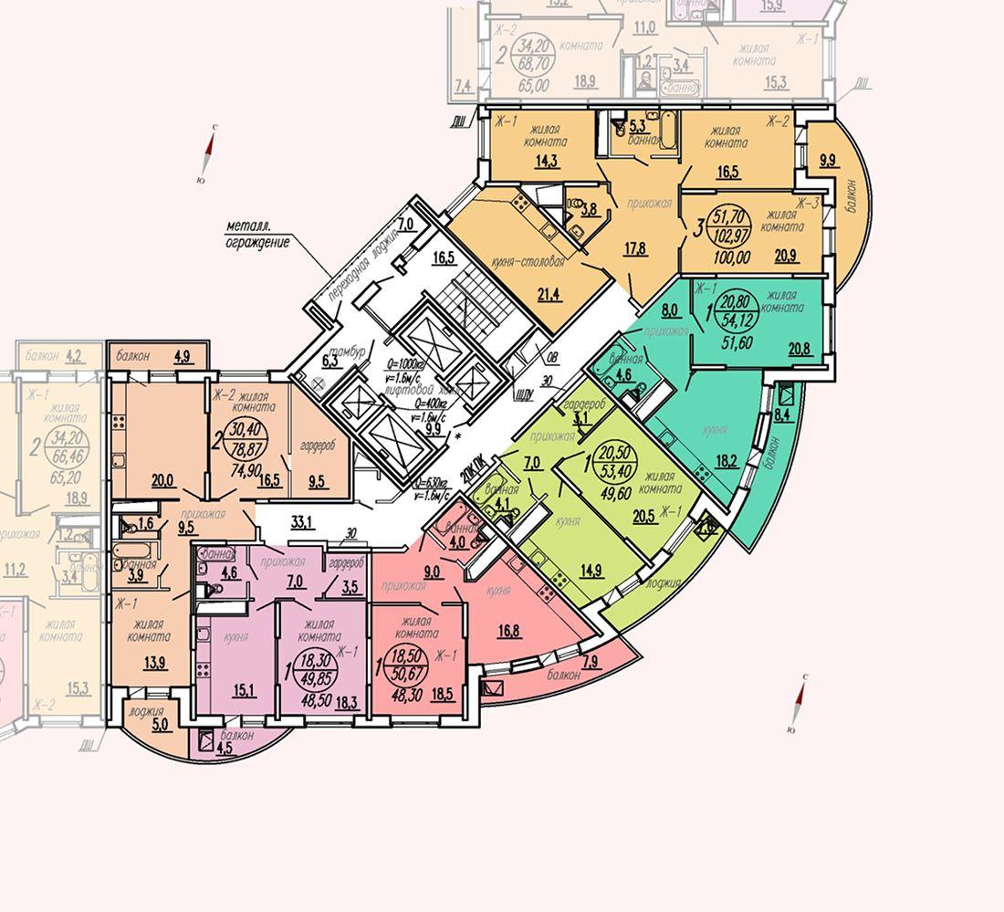 ул. Дирижабельная, д. 1, секция3, этаж/этажи 22-23