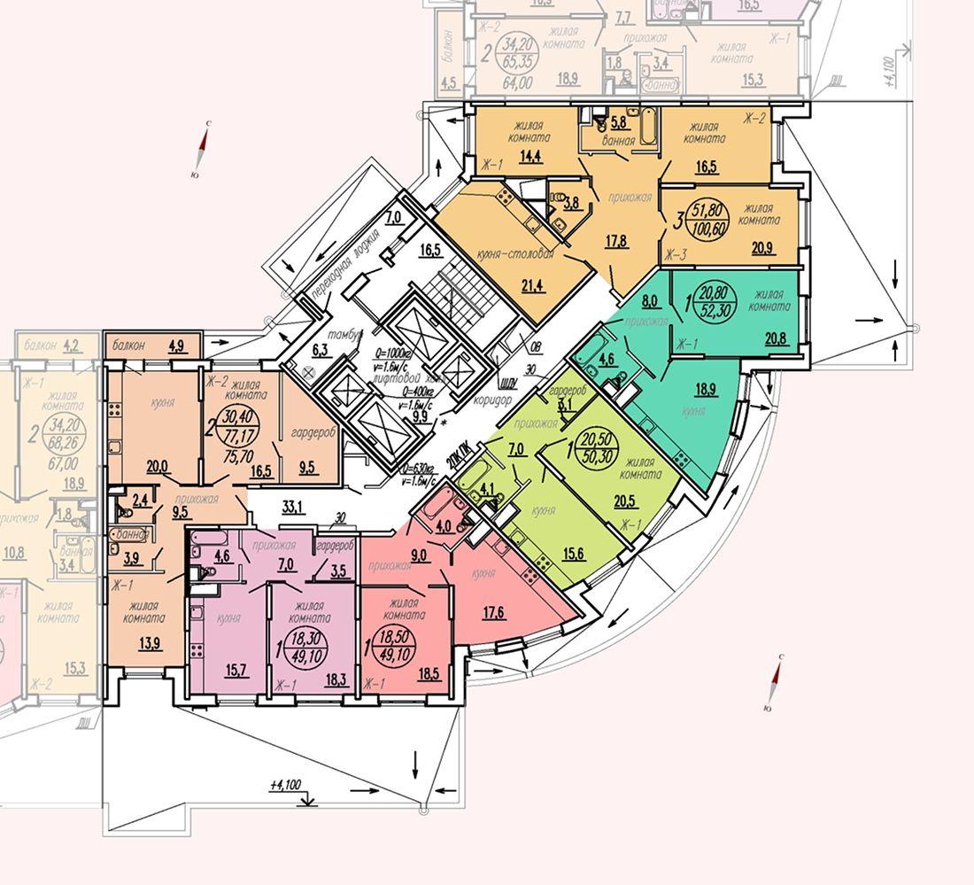 ул. Дирижабельная, д. 1, секция3, этаж/этажи 2