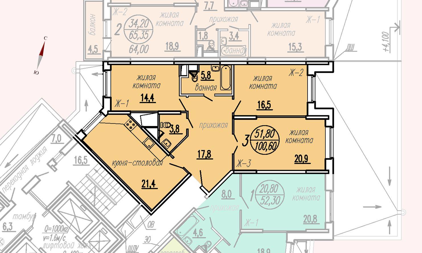 ул. Дирижабельная, д. 1, секция3, квартира 100,60 м2