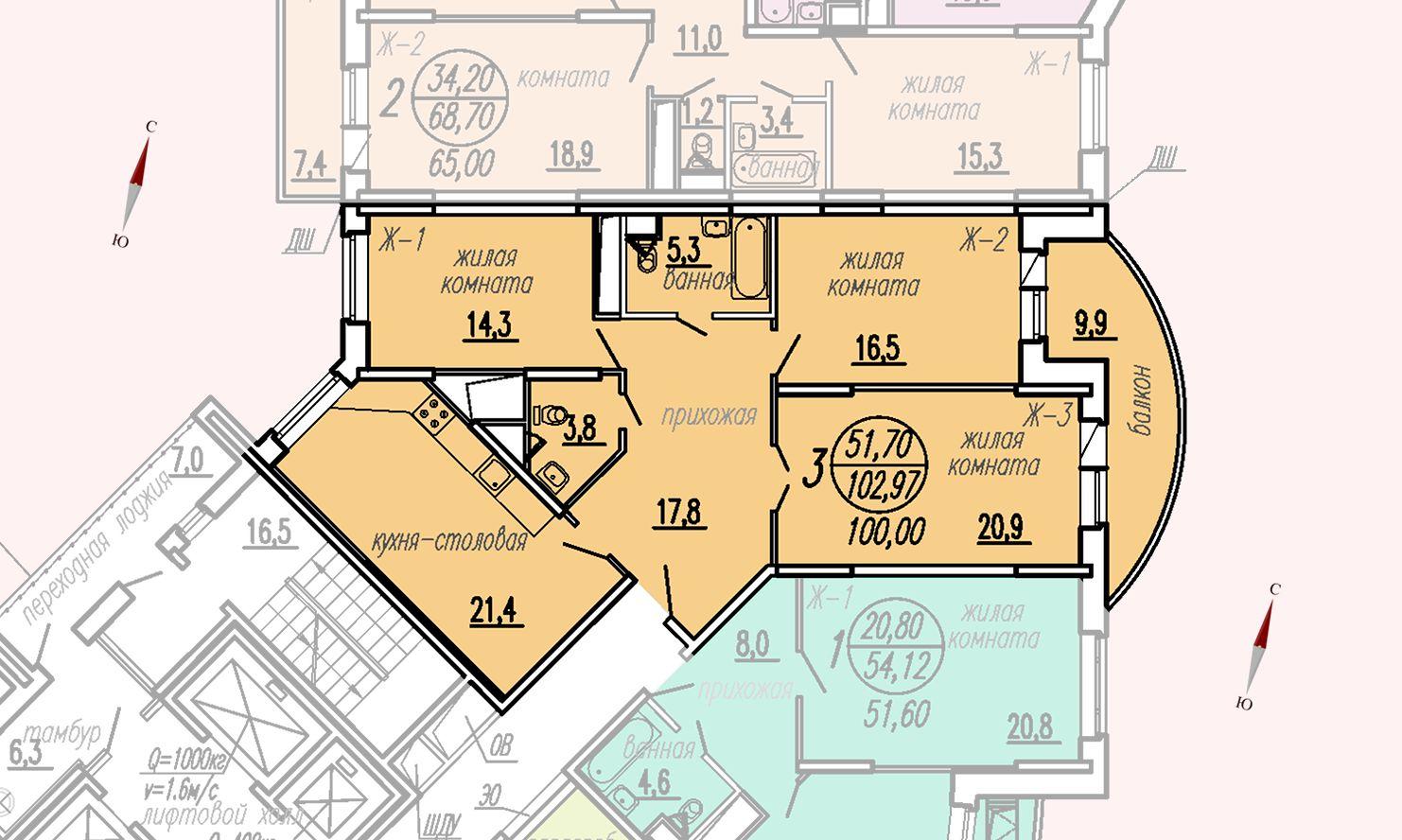 ул. Дирижабельная, д. 1, секция3, квартира 102,97 м2