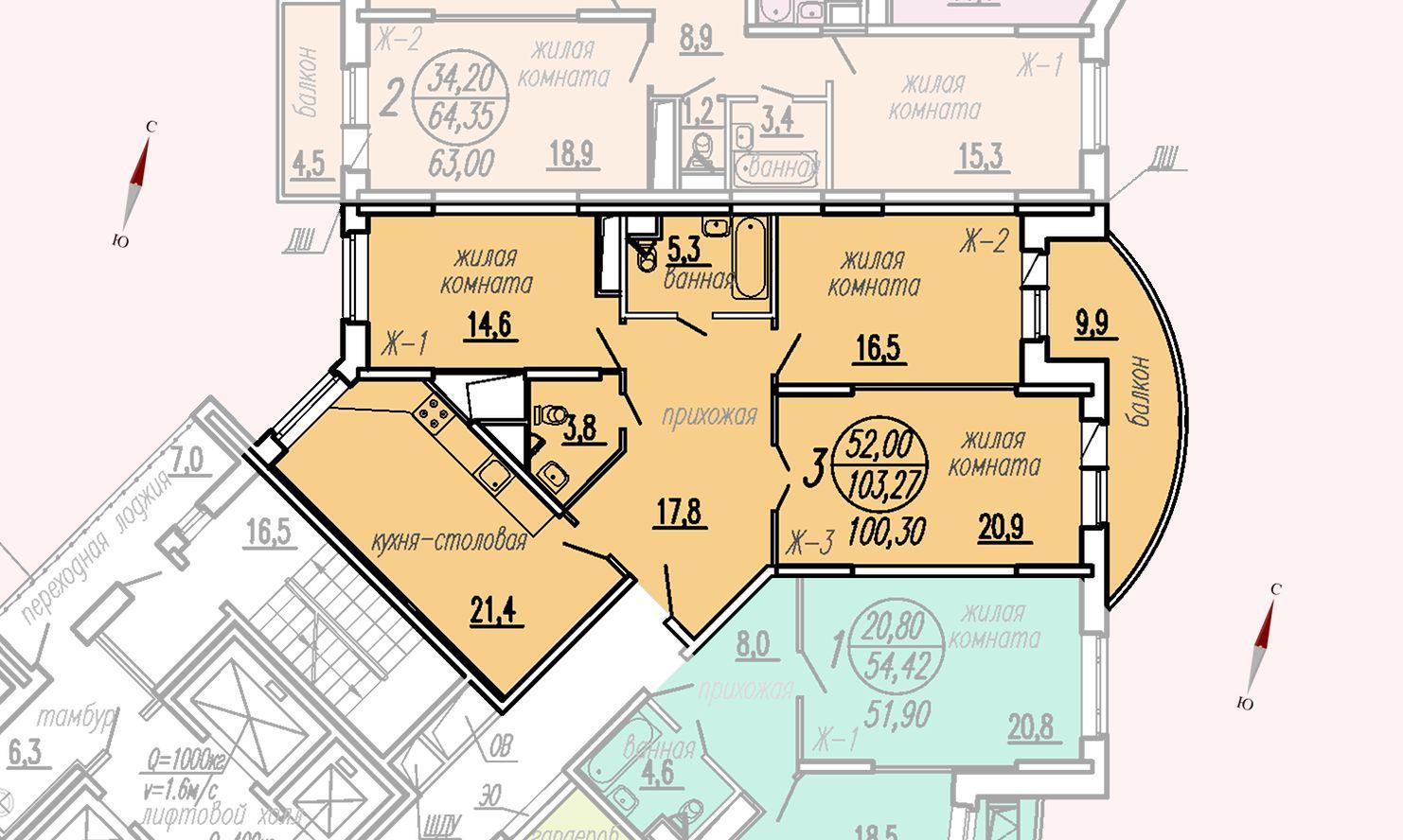 ул. Дирижабельная, д. 1, секция3, квартира 103,27 м2