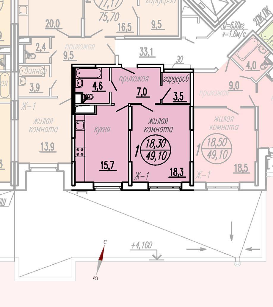 ул. Дирижабельная, д. 1, секция3, квартира 49,10 м2