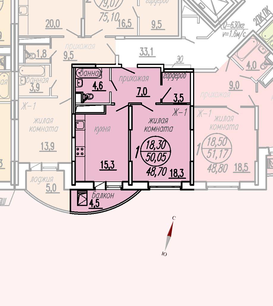 ул. Дирижабельная, д. 1, секция3, квартира 50,05 м2