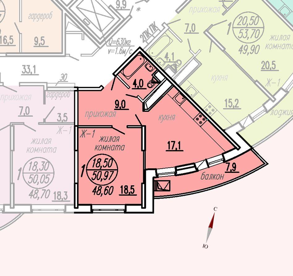 ул. Дирижабельная, д. 1, секция3, квартира 50,97 м2