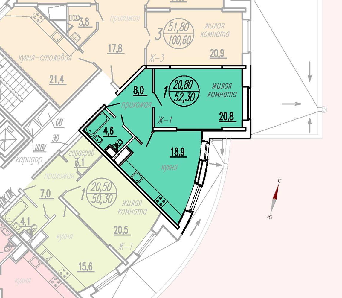 ул. Дирижабельная, д. 1, секция3, квартира 52,30 м2