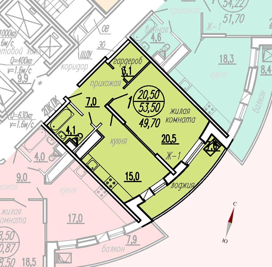 ул. Дирижабельная, д. 1, секция3, квартира 53,50 м2