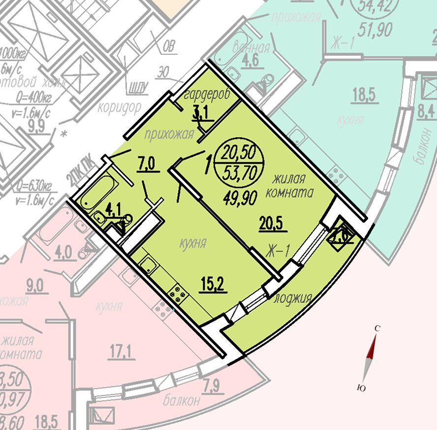 ул. Дирижабельная, д. 1, секция3, квартира 53,70 м2