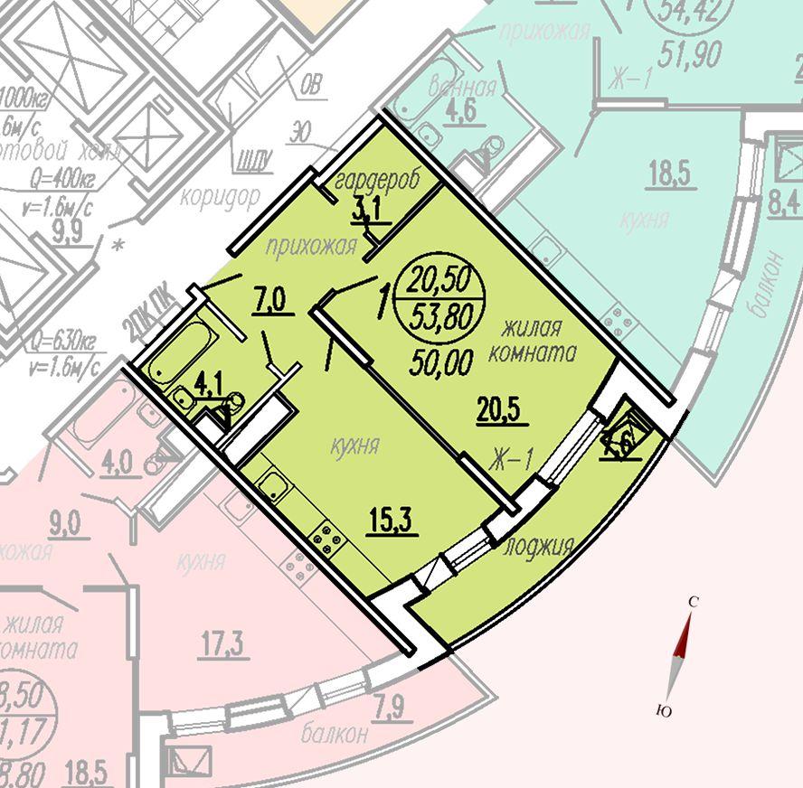 ул. Дирижабельная, д. 1, секция3, квартира 53,80 м2