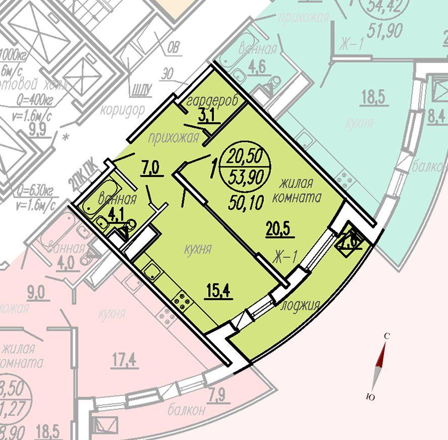ул. Дирижабельная, д. 1, секция3, квартира 53,90 м2
