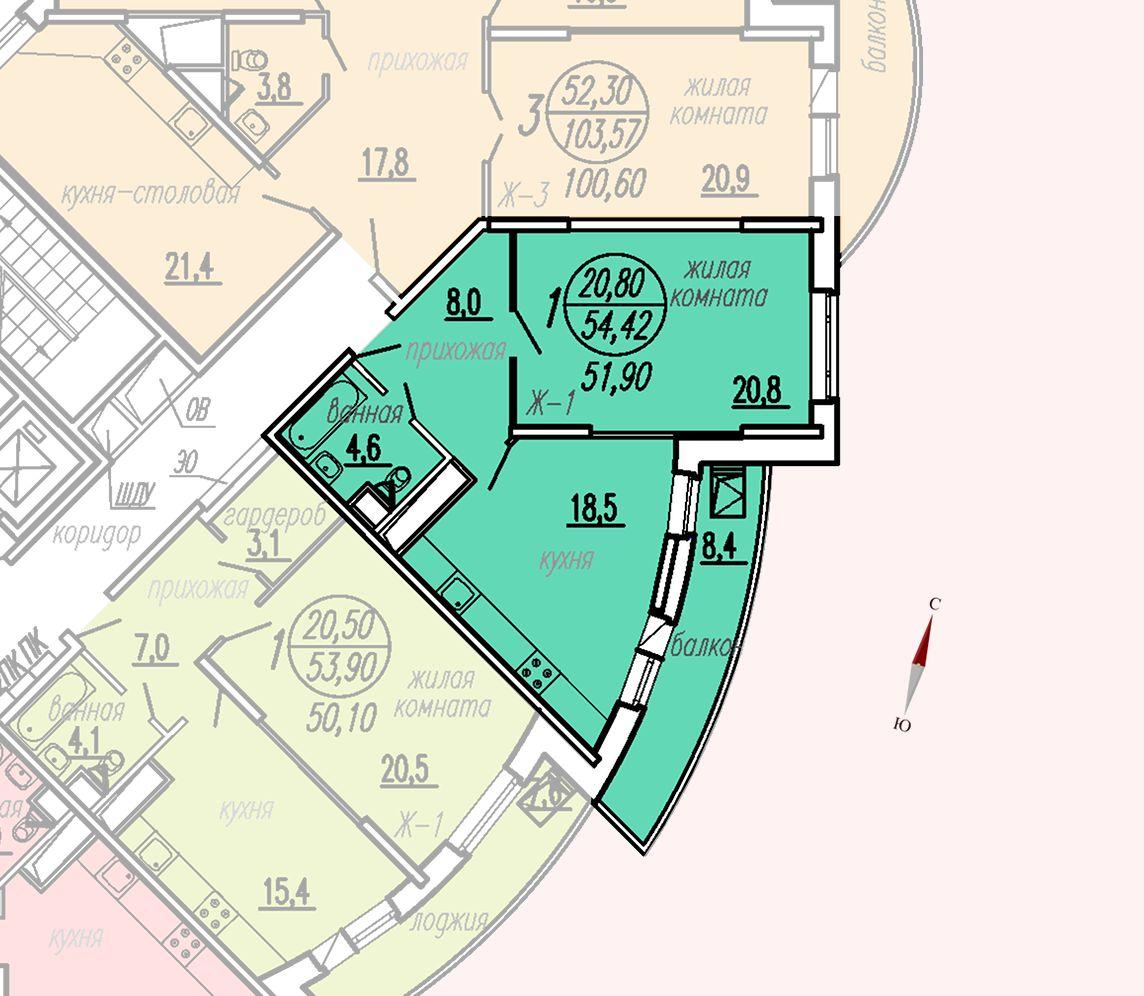 ул. Дирижабельная, д. 1, секция3, квартира 54,42 м2