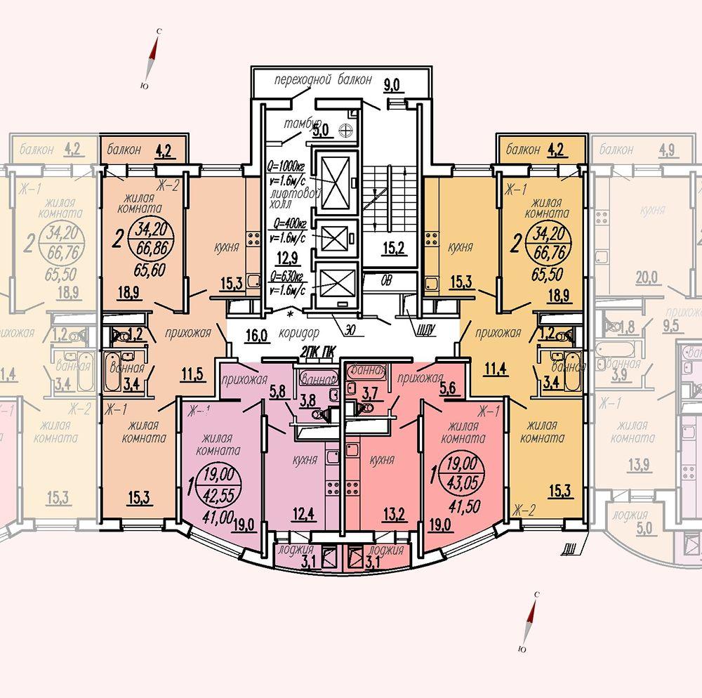 ул. Дирижабельная, д. 1, секция4, этаж/этажи 14-17