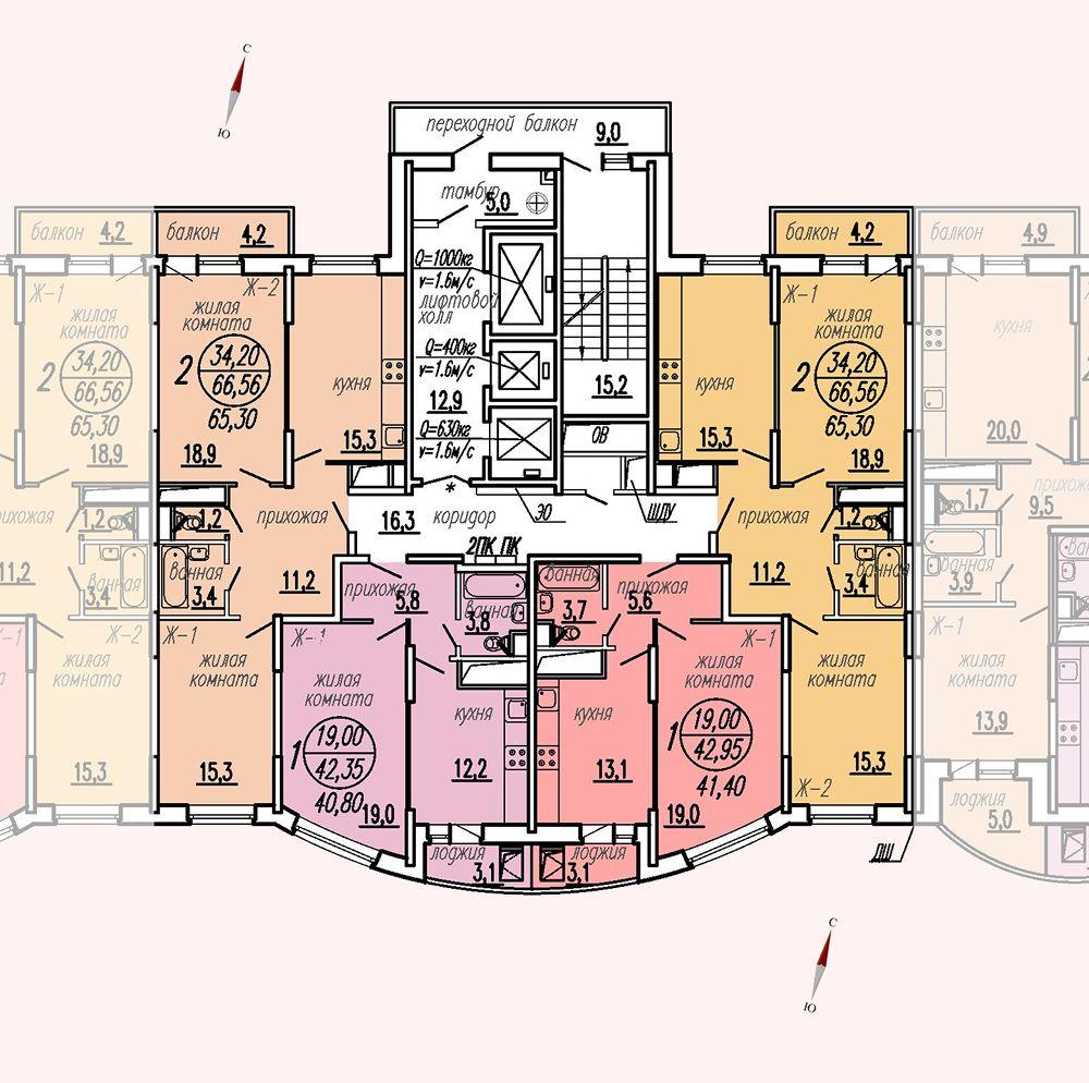 ул. Дирижабельная, д. 1, секция4, этаж/этажи 18-21