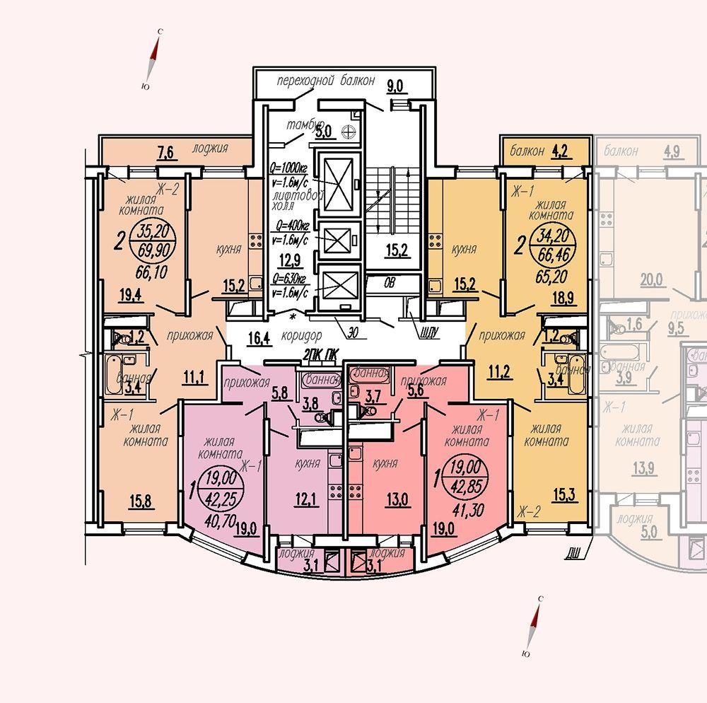 ул. Дирижабельная, д. 1, секция4, этаж/этажи 22