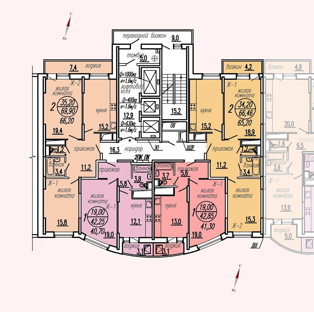 ул. Дирижабельная, д. 1, секция4, этаж/этажи 23