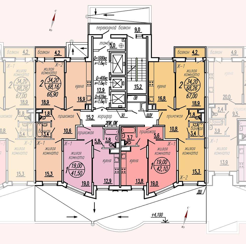 ул. Дирижабельная, д. 1, секция4, этаж/этажи 2