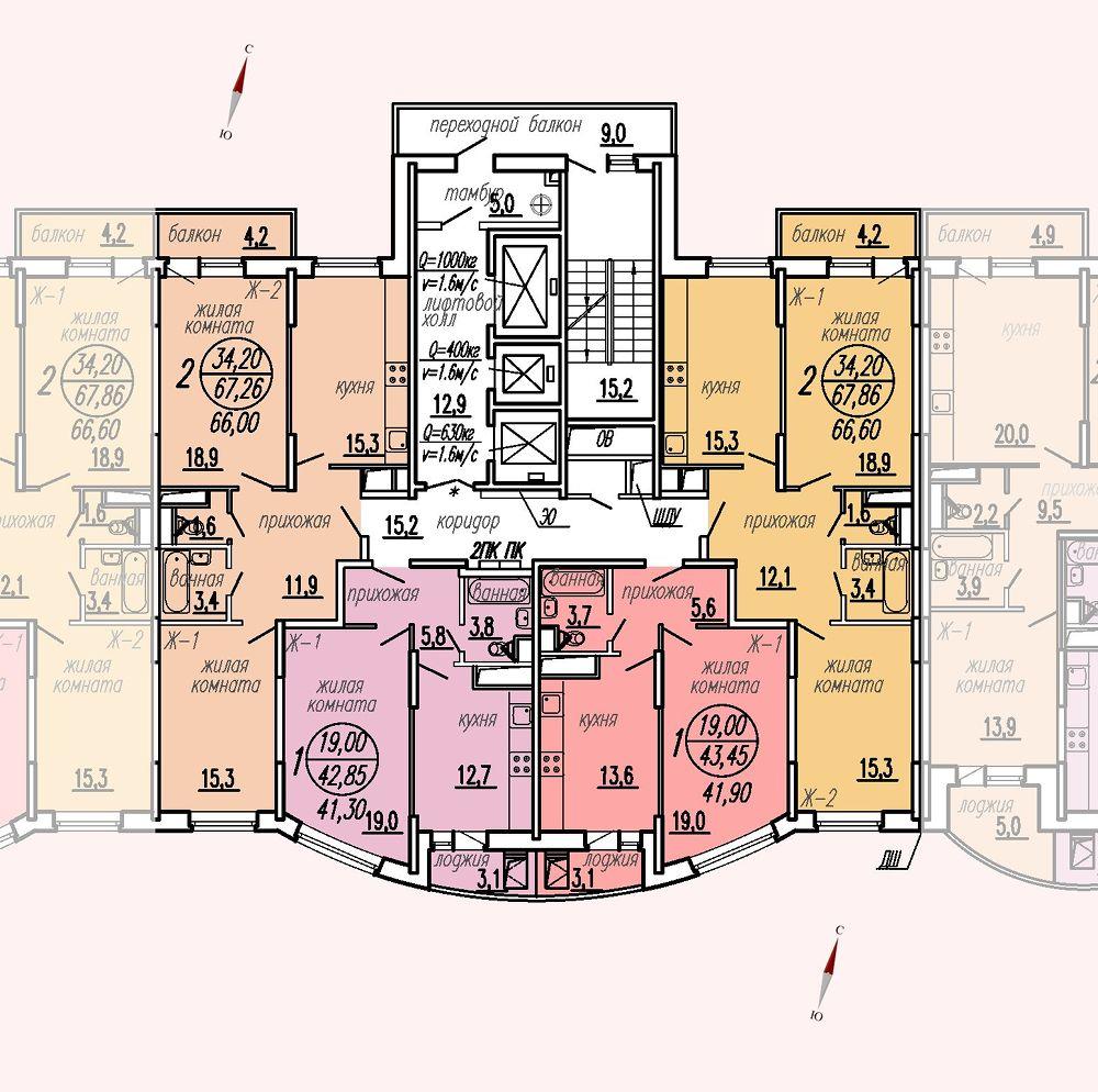 ул. Дирижабельная, д. 1, секция4, этаж/этажи 6-9