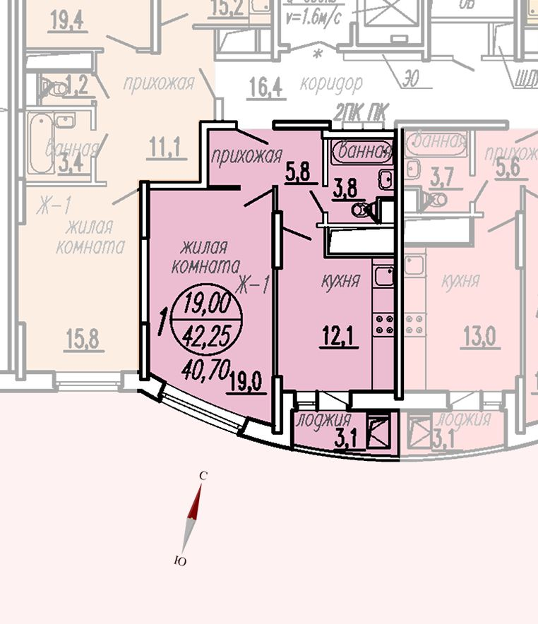 ул. Дирижабельная, д. 1, секция4, квартира 42,25 м2