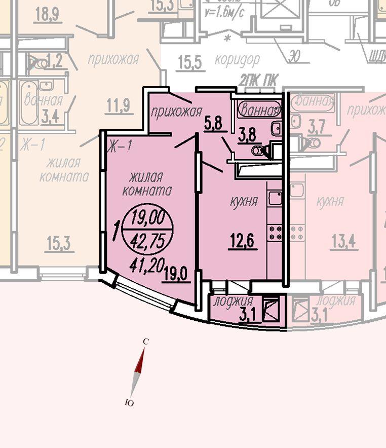 ул. Дирижабельная, д. 1, секция4, квартира 42,75 м2
