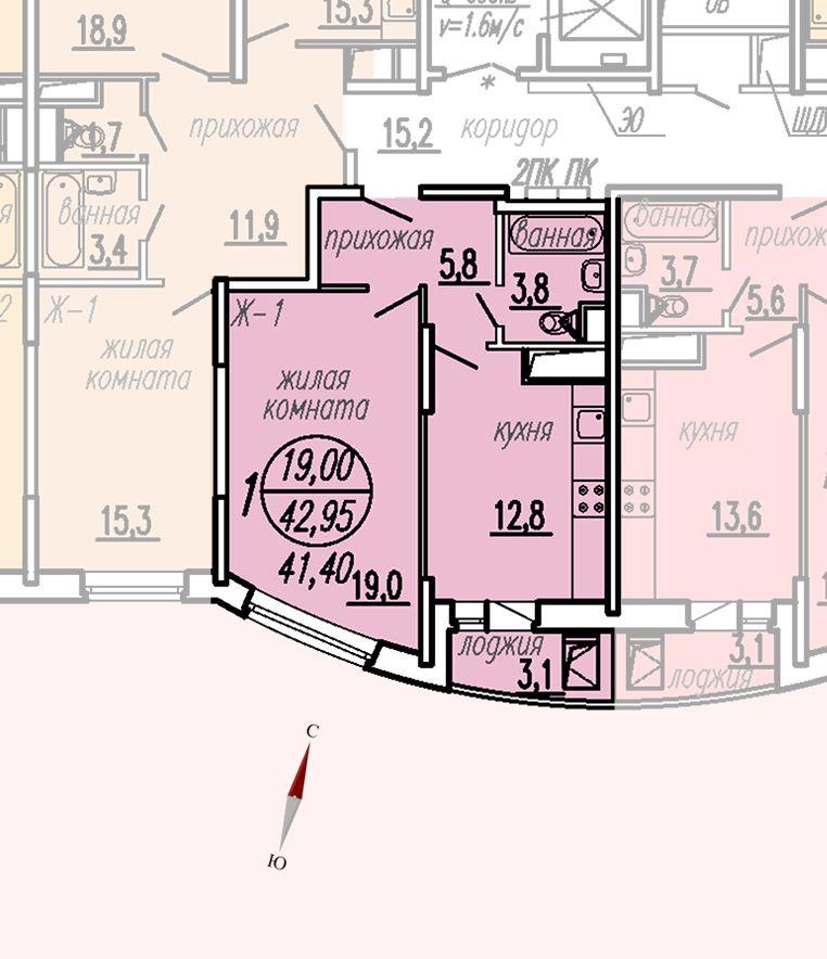 ул. Дирижабельная, д. 1, секция4, квартира 42,95 м2