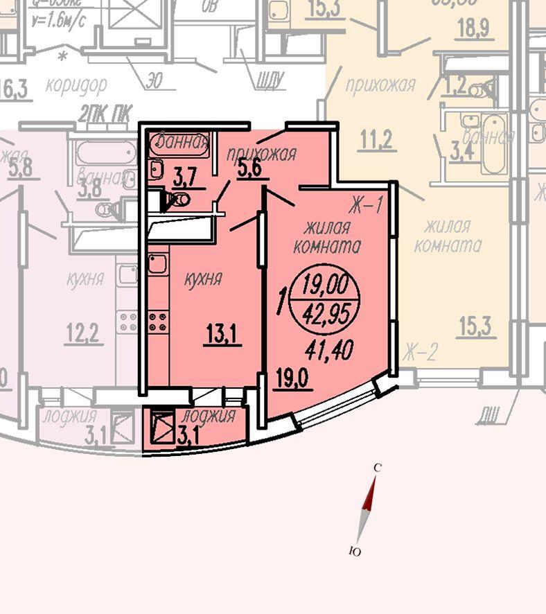 ул. Дирижабельная, д. 1, секция4, квартира 42,95 м2, вариант 2